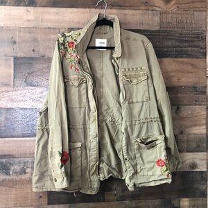 Sonoma Floral Embroidered Khaki Jacket